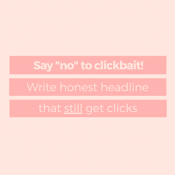 Clicks start with a headline. It needs to be catchy, and it helps if there's a killer image to help capture your visitors' attention. Being catchy without being bait-y can be tough (and boy, do some websites make it look impossible!). Here's how to write headlines right | via SeeBrittWrite.com
