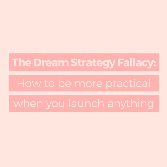 What is the Dream Strategy Fallacy? It's when we fall for our first ideas without thinking about our businesses. This guide shows you exactly how to turn your dream strategy into a practical strategy you can use to plan your online business content | via SeeBrittWrite.com
