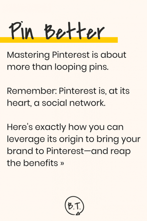 Tired of being just another business account on Pinterest? Stand out by branching out. Here's how to use Pinterest to build your brand story by catering to your target audience and ideal customer. | by Brittany Taylor | Brand stories, blog posts, and bios for professional people