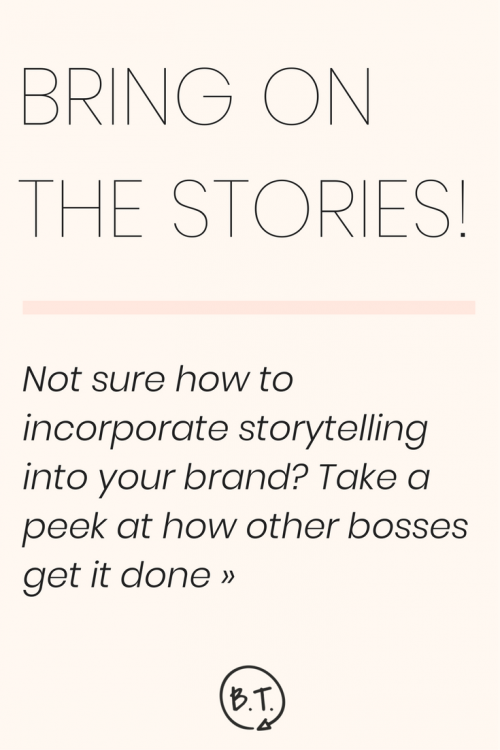 Not sure how to bring storytelling into your business brand? Take a peek at how other bosses share personal stories successfully as a regular part of their content strategies. | by Brittany Taylor | Brand stories, blog posts, and bios for professional people