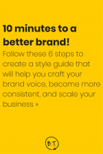 Want to craft a brand voice? Create consistent content? Scale your business? A blog style guide will help you get it done. These 6 stupid-easy steps will help you make a style guide for your brand in minutes. | by Brittany Taylor | Brand stories, blog posts, and bios for professional people