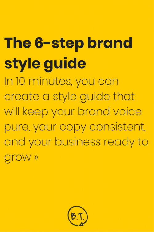 Want to craft a brand voice? Create consistent content? Scale your business? A blog style guide will help you get it done. These 6 stupid-easy steps will help you make a style guide for your brand in minutes.   by Brittany Taylor   Brand stories, blog posts, and bios for professional people