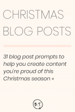 If you can't hear reindeer hooves or popping corks, you've still got time to post your Christmas-through-New Year's content. Here is a month's worth of Christmas-themed blog post prompts to get your wheels turning.