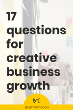 "Photo of an office set up with a desk and bulletin board with words that say ""17 questions for creative business growth"""