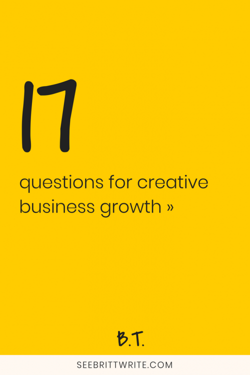 "Graphic that reads ""17 questions for creative business growth"""