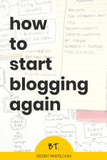 "Graphic reading ""How to start blogging again"""