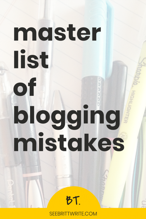 """Graphic that reads """"master list of blogging mistakes"""""""