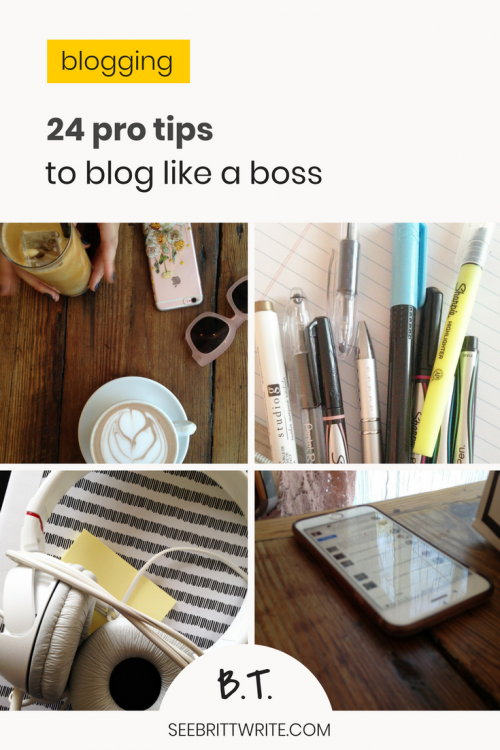 """Graphic that reads """"24 pro tips to blog like a boss"""""""