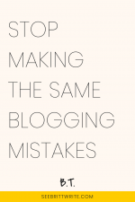 "graphic with light pink background with text that reads ""stop making the same blogging mistakes"""