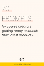 Pink graphic with text reading: 70 prompts for course creators getting ready to launch their latest product
