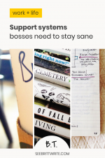 Graphic with text reading: Support systems bosses need to stay sane