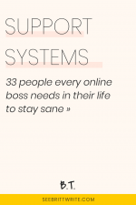 Pink graphic with text reading: Support systems - 33 people every online boss needs in their life to stay sane
