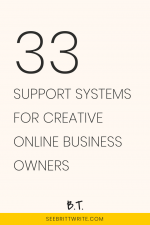 Pink graphic with text reading: 33 support systems for creative online business owners