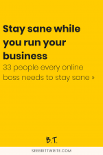 Yellow graphic with text reading: Stay sane while you run your business - 33 people every online boss needs to stay sane