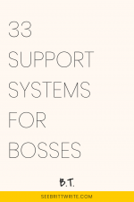 Pink graphic with text reading: 33 support systems for bosses