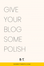 Light pink graphic with text reading: Give your blog some polish